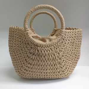 Handbags - NWT Woven straw hand bag purse draw string